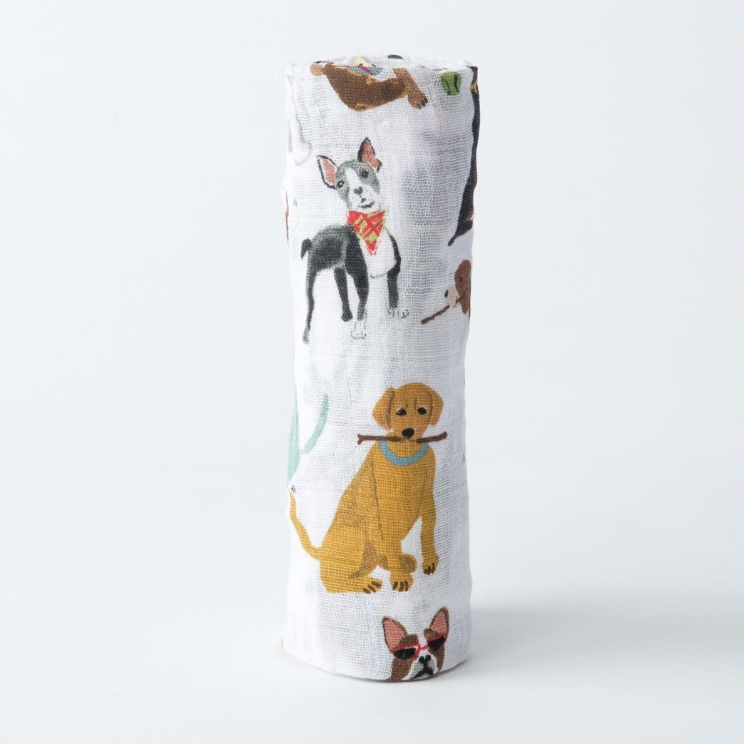 woof cotton muslin swaddle rolled up