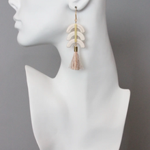 Load image into Gallery viewer, CRESCENT MAGNESITE SILK TASSEL EARRINGS