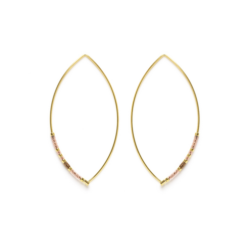 MARQUISE BEAD HOOPS CHAMPAGNE