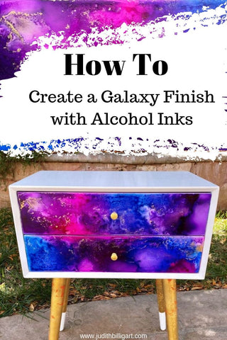 Nightstand Makeover - Create a Galaxy Finish with Alcohol Inks