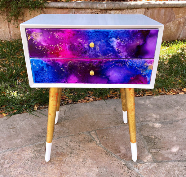 Nightstand with Galaxy finish, painted with Alcohol Inks
