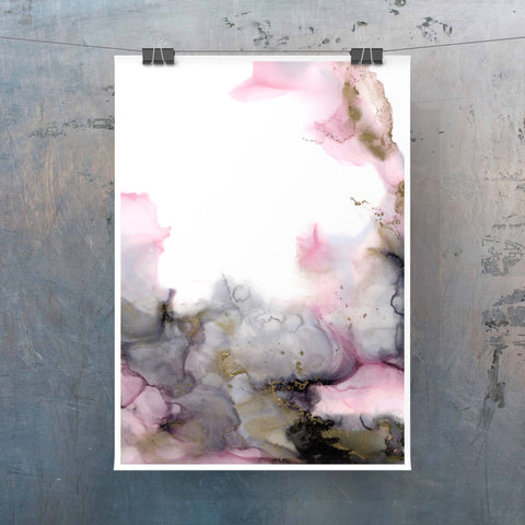 Rosegarden - Giclee Print in soft pink and gray with gold color accents
