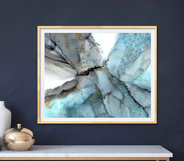 Stratus - Giclee Print in teal blue, smoky blue and grays