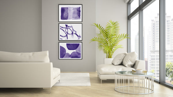 Set of 3 Art Prints - Royal Purple