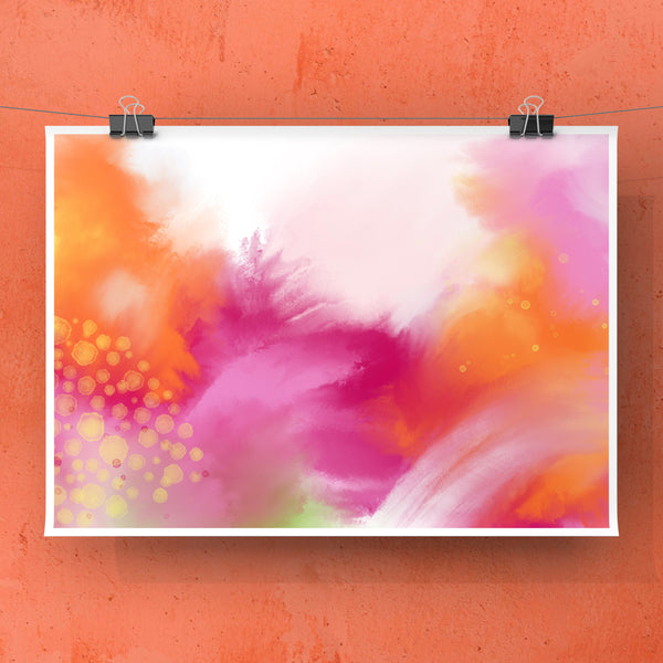 Summer Love 3 - print in orange, magenta, yellow, green