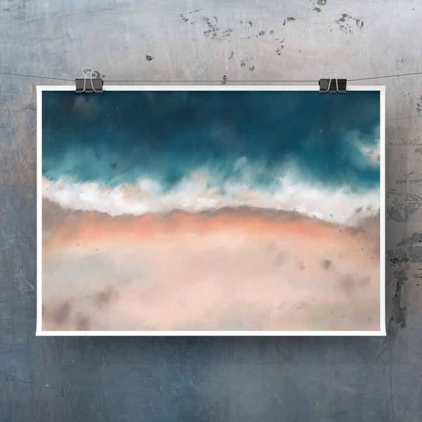 Big Sur I - coastal art print in blush peach and teal