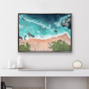 Big Sur II - coastal art print in blush peach, turquoise and teal