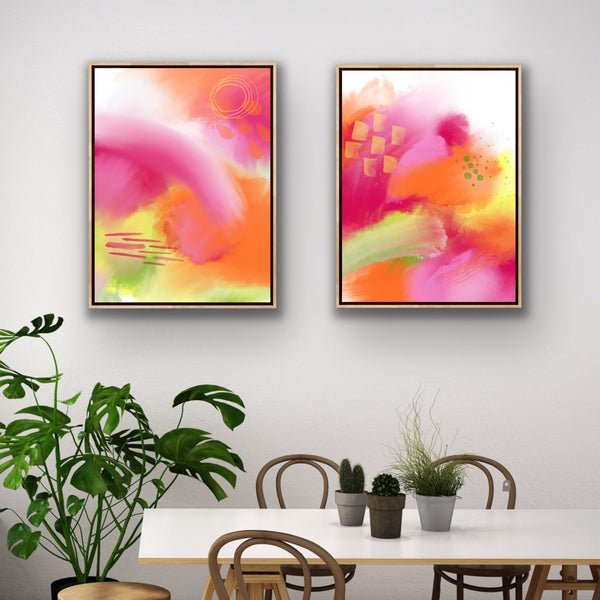 Summer Love 1 - print in orange, magenta, yellow, green