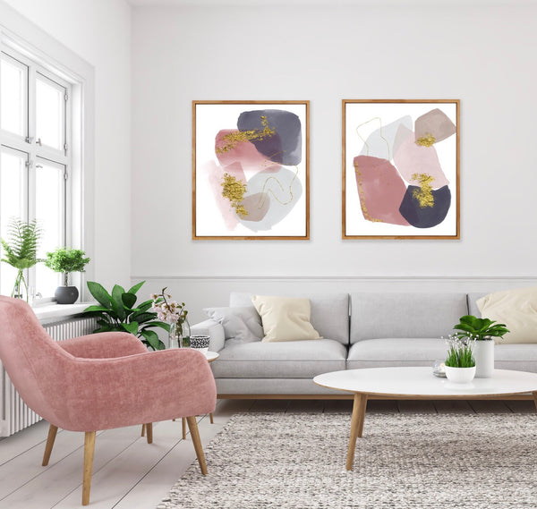 Freya 1 - Art Print in mauve/gray/blue/gold