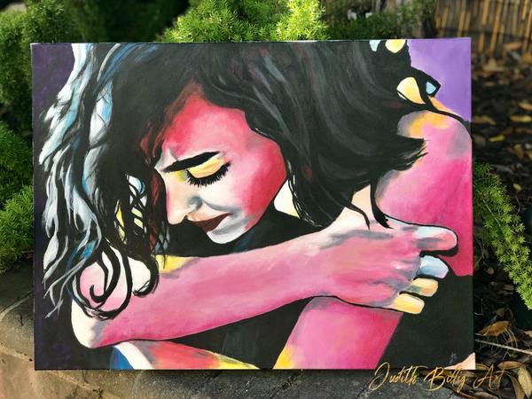 Holding On  - original painting on stretched canvas, US shipping included