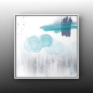 Solstice III - beach style abstract in teal and gray