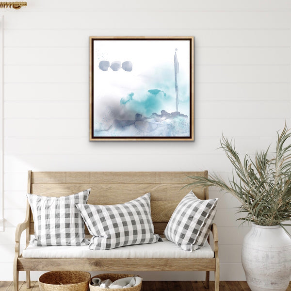 Solstice II - beach style abstract in teal and gray