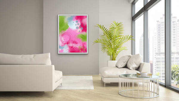 Joyful II - colorful art print in magenta, green, teal, blush pink