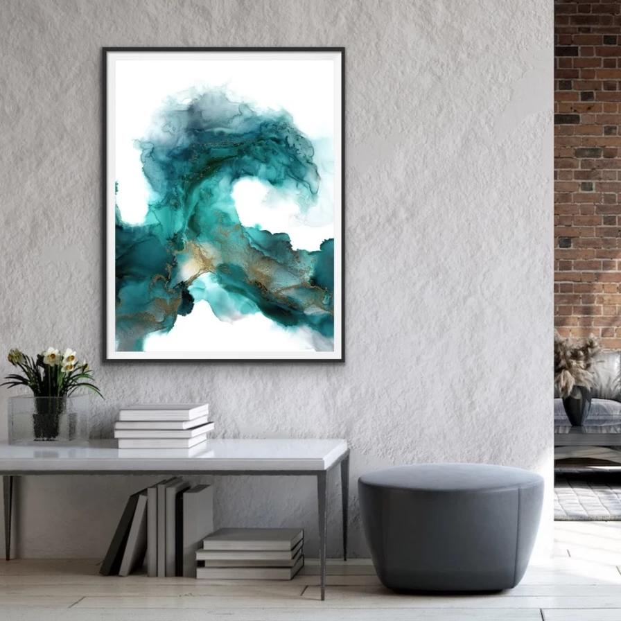 Wild Wave - Giclee Print in teal green