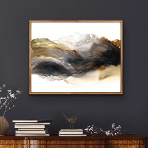 Iron Mountain - Giclee Print in black, gray, rust brown