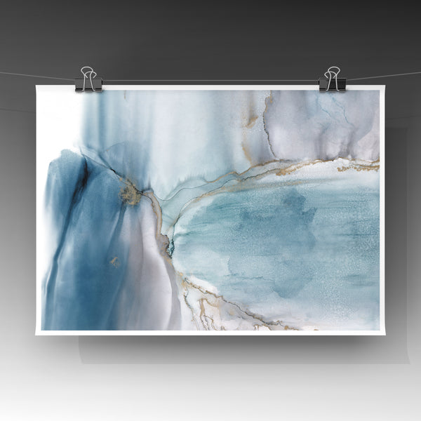 Glacier - Giclee Print in teal green, gray and gold