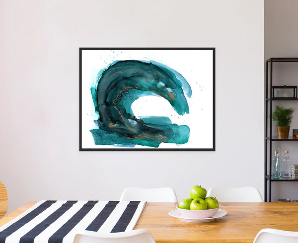 Modern Wave - Giclee Print in teal green