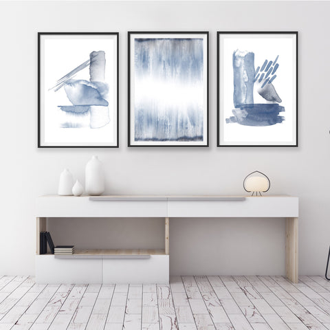 Set of 3 Art Prints - Indigo Mix