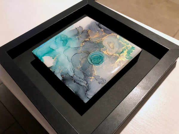 Teal Whisper - original painting with resin finish