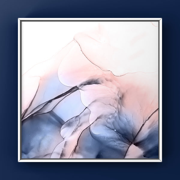 Dreamscape 2 - abstract alcohol ink painting in blush and navy blue
