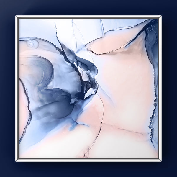 Dreamscape 3 - abstract alcohol ink painting in blush and navy blue