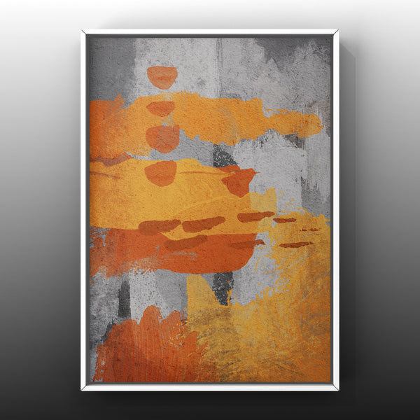 Set of 3 Art Prints - Tangerine & Gray