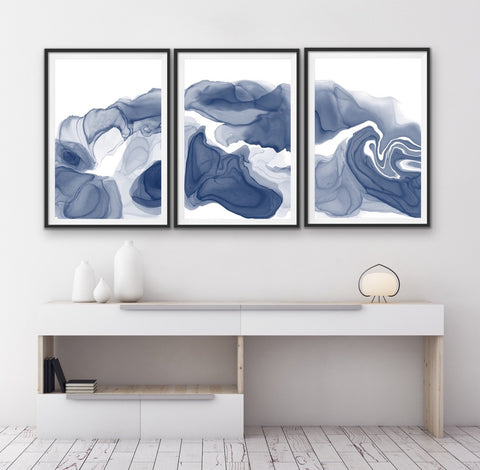 Set of 3 Art Prints - Indigo ink