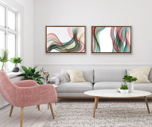 Set of 2 Art Prints - Coral & Sage