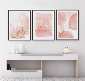 Set of 3 Art Prints - Blush & Gold