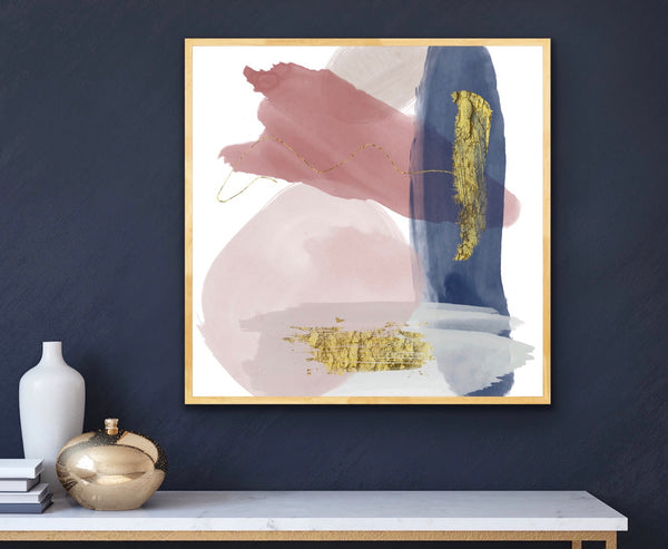 Inga - Art Print in mauve/gray/blue/gold
