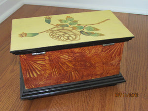 Grain Painted Wooden Box with Painted Flower - 2002