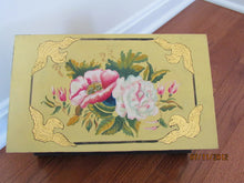 Handpainted Wooden Box  Flower Stencil Design