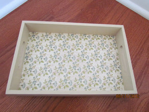Cream Tray with Blue Flowers
