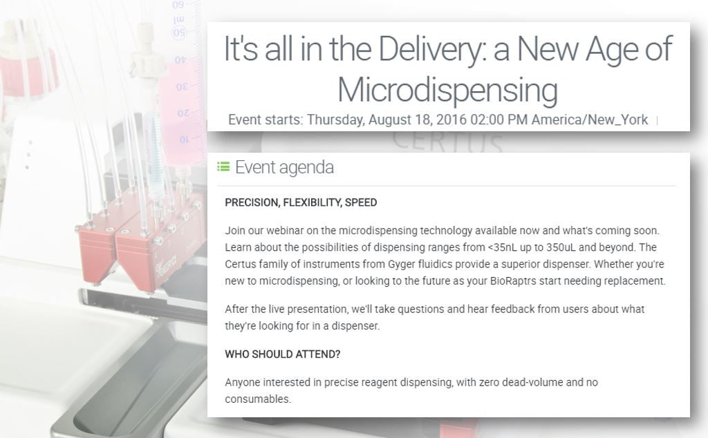 It's all in the Delivery: a New Age of Microdispensing