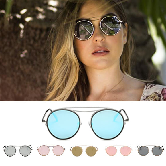 Fashion Designer Mirrored Polarized Round Sunglasses