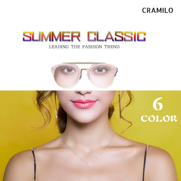 Womens Fashion Vintage Half Frame Round Cateye Sunglasses