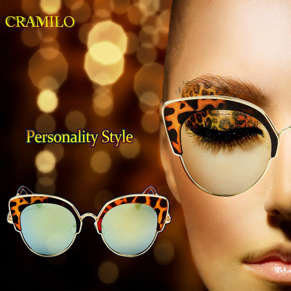 Cat Eye Metal Frame Women Sunglasses UV400 HD Lenses