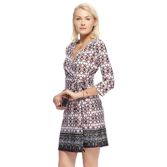 Spring Summer Elegant Women V Neck Dresses Long Sleeve Belt Style Vintage Print Dress For Ladies Women Clothing