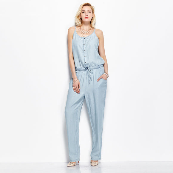 Women Sexy Slim Strap Denim Jumpsuit Romper Trousers Loose Playsuit Jeans Pants