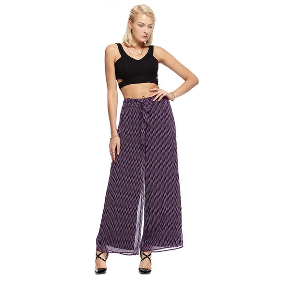 Spring Summer Ladies High Waist Chiffon Wide Leg Pants Female Dots Print Loose Casual Pants Trouser For Women