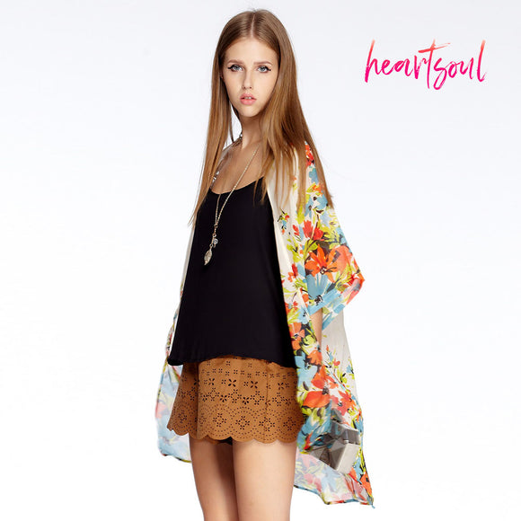 Heart Soul Women Floral Printed Chiffon Shawl Kimono Cardigan Tops Cover up Blouse