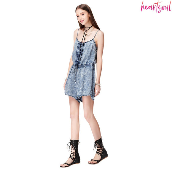 HEART SOUL Women Rompers Snowflake Print Jumpsuit Summer Short Pleated Overalls Jumpsuit Female Playsuit