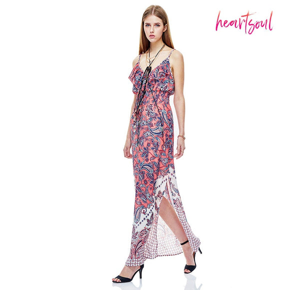 Women's Floral Print Bohemian Spaghetti Strap Round Neck Sleeveless Long Maxi Casual Dress