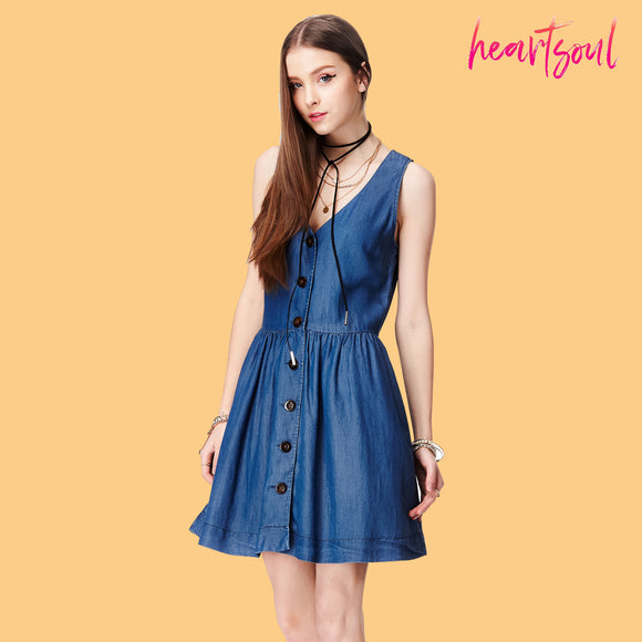 Heart Soul Women's Sleeveless Denim Keyhole Back Dress
