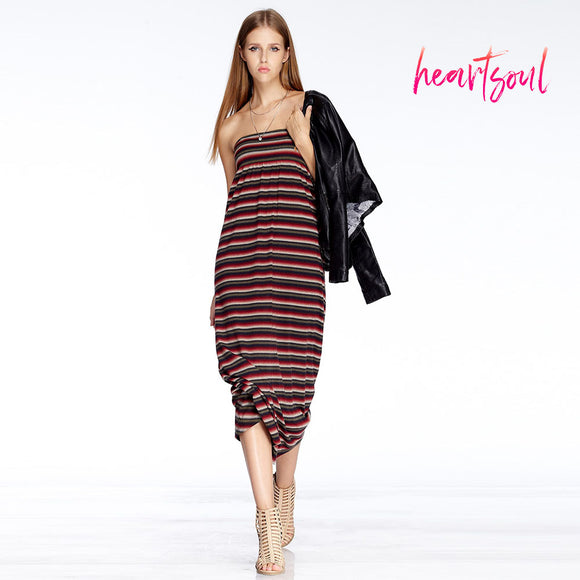 Heart Soul Women Fashion Dress Lady Female Sexy Off Shoulder Stripe Lace-up Sleeveless Maxi Long Dress