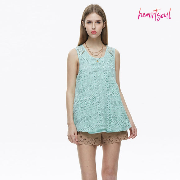HeartSoul Women's  Print V neck Sleeveless Loose Tunic Tank Tops Casual Blouses Vest T Shirt