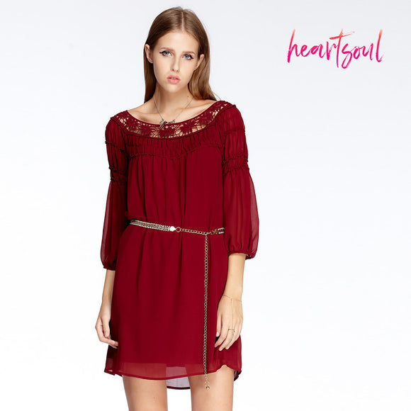 Heart Soul Women Chiffon Casual Dress Vintage Lace Round Neck Elegant Red Lantern Sleeve Dresses Women Clothing