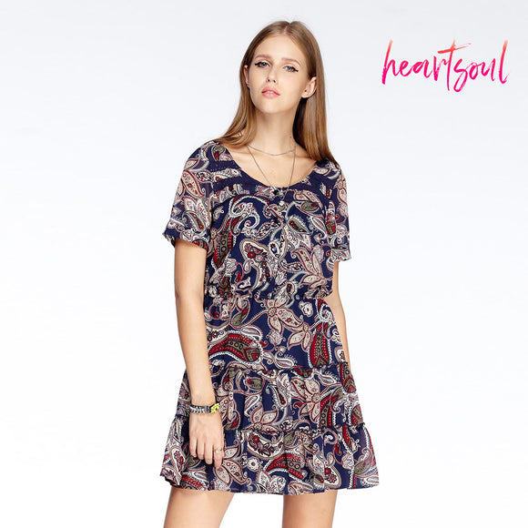 Heart Soul Women's Round Neck Short Sleeve Floral Printed Dress