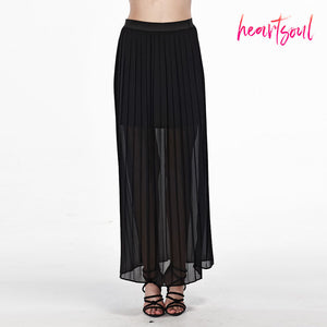 Heart Soul Women's Chiffon See-Through Pleated Long Maxi Skirts