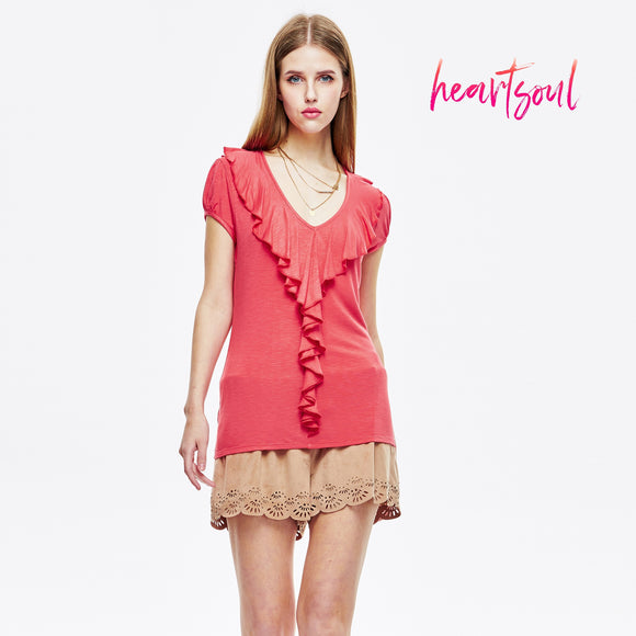 HeartSoul Women's Short Sleeve Ruffle Front Top with Long Piping